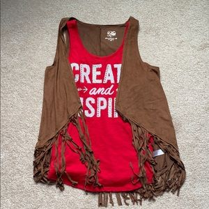 two piece red tank and brown cardigan